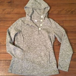 Columbia hoodie, with button up front.
